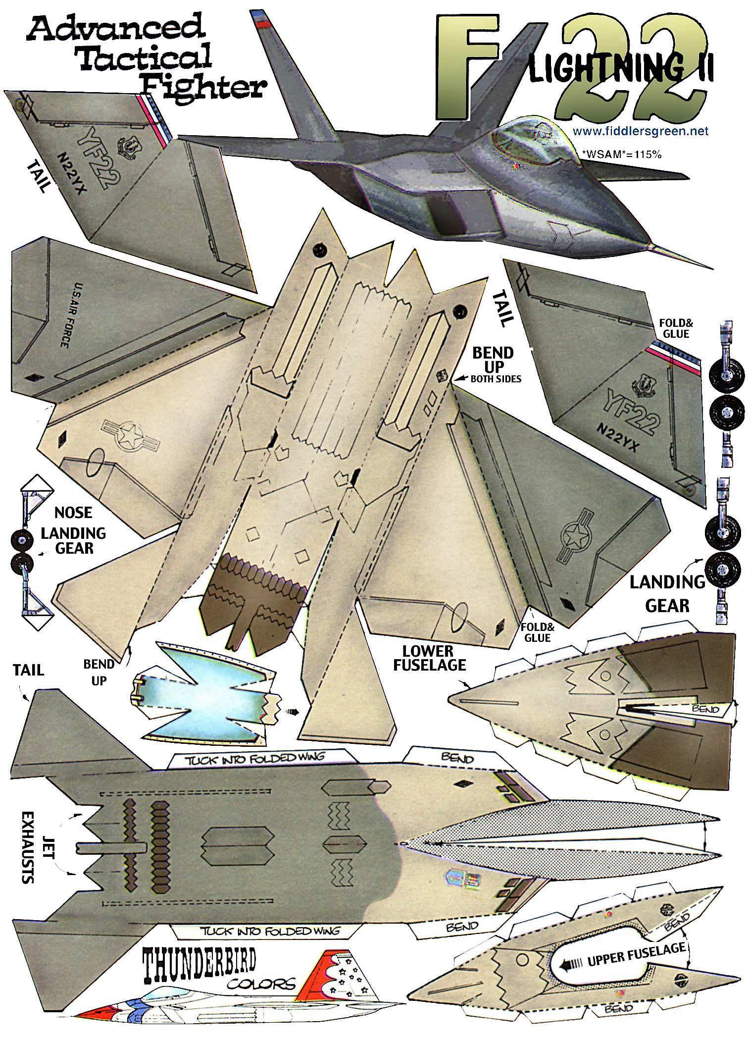 F-22 Lightning | Airplane Papercraft | Pinterest | Papierflieger ...