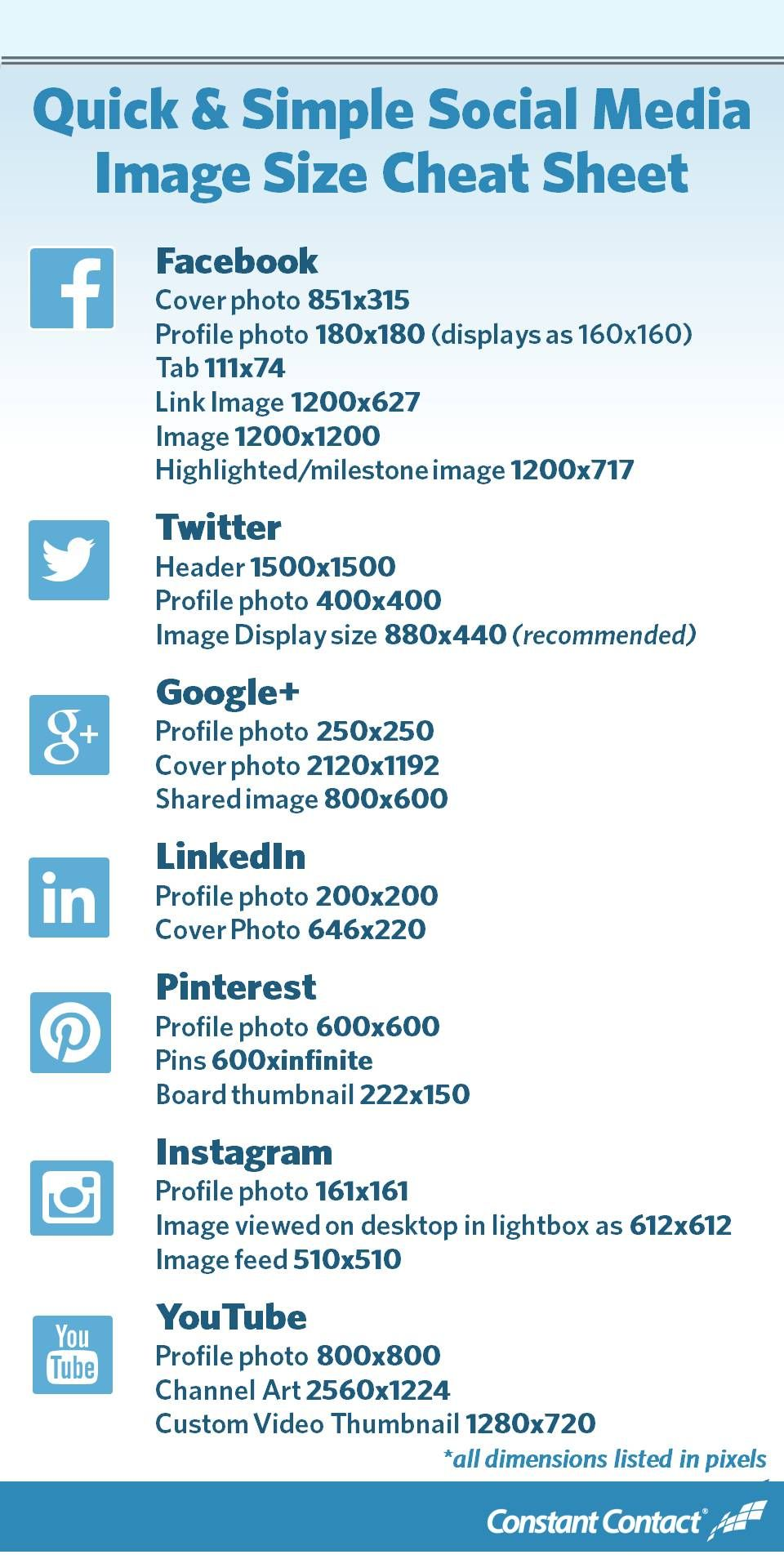 2019 Social Media Image Sizes Cheat Sheet | Infographics