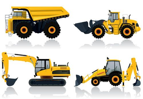 Construction Vehicles Design Vectors Set 03