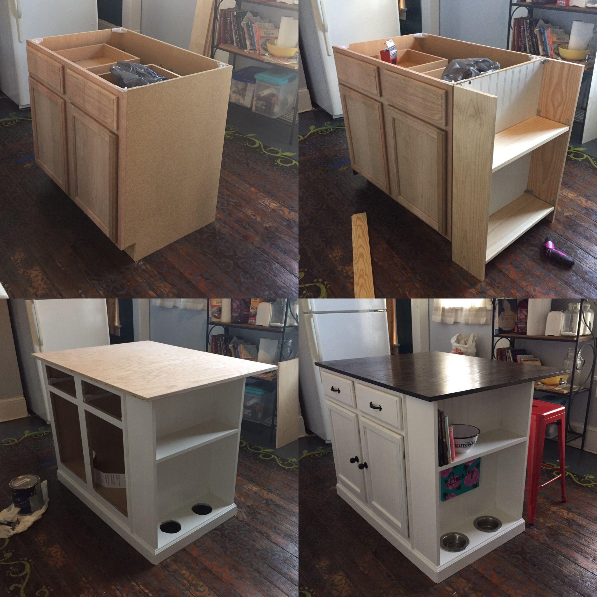Unfinished base cabinet to kitchen island. # ...