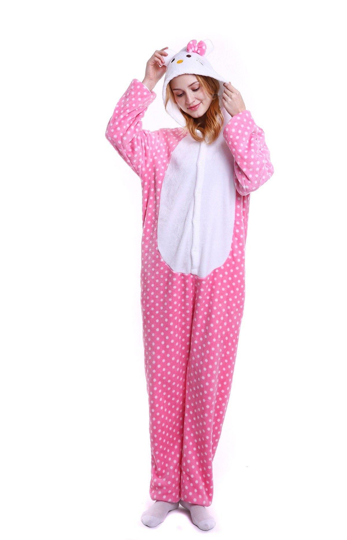 kigurumi pink Hello Kitty Cat onesies animal pajamas for adults ... 9e6bea038