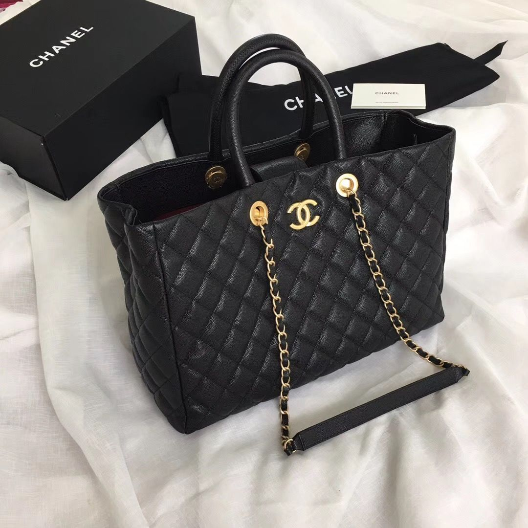 Chanel Top Handle Woman Chain Shoulder Bag Wrinkled Leather Chevron V Quilted Caviar Leather Tote Chanel Bag Chanel Grand Shopping Tote Grand Shopping Tote
