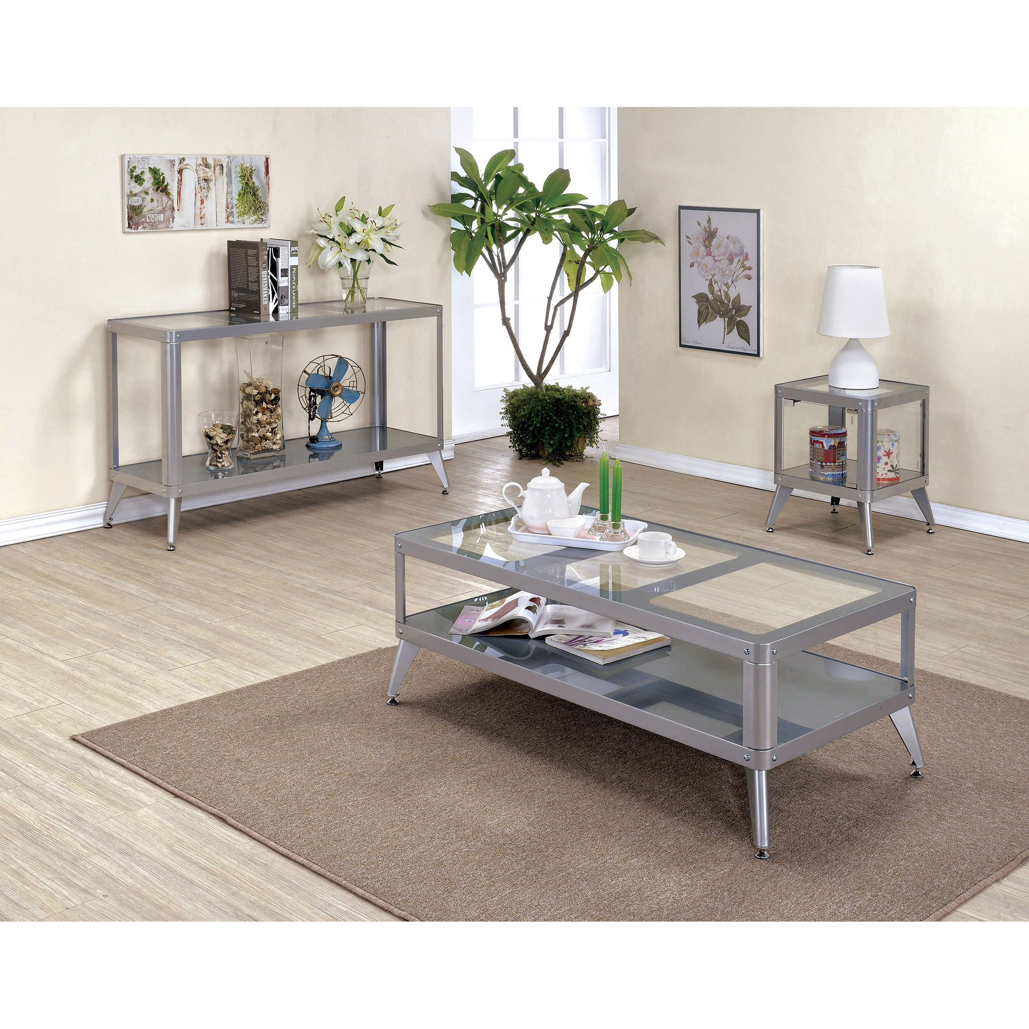 Modern glass end table  Furniture of America Linden Modern piece Top Metal Accent Table