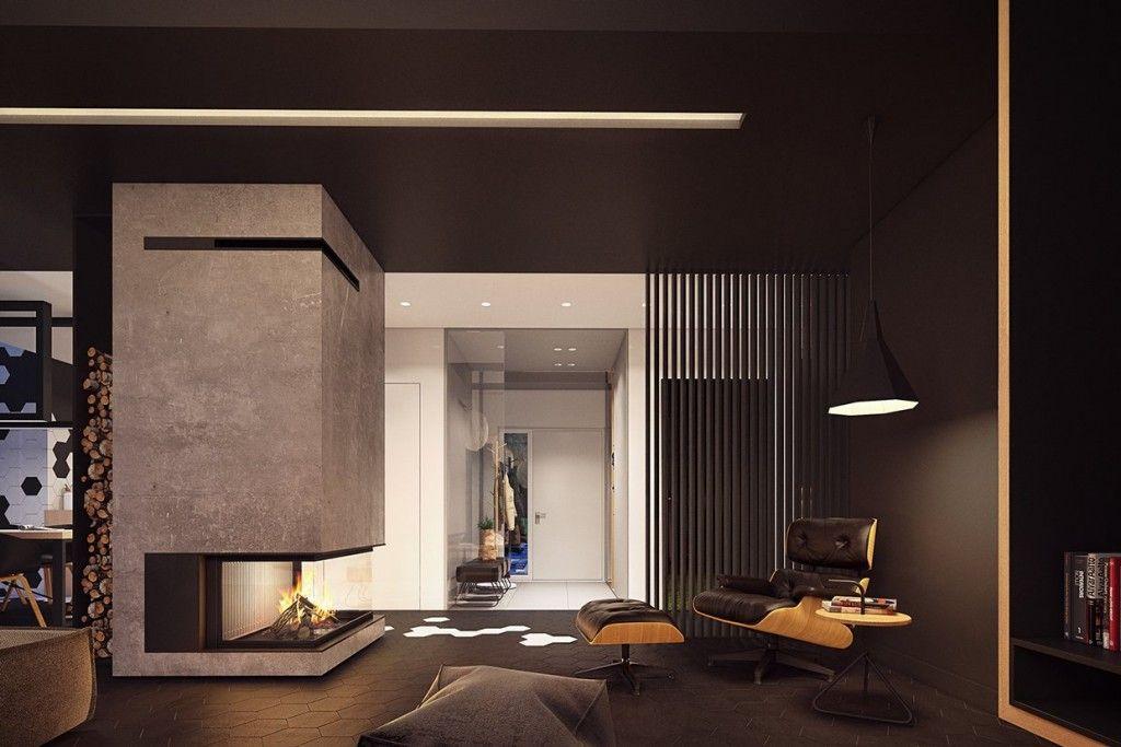 Plasterlina-modern-fireplace-dark-color-accents-wood-storage-black-and-white-geometric-flooring-dark-chocolate-cofa-and-black-wooden-paneling-1024x683.jpg (1024×683)