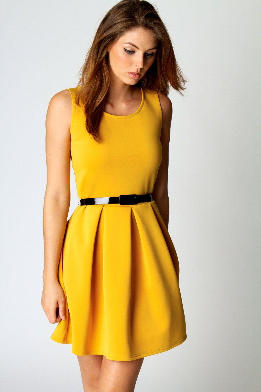 Yellow Pleat Sleeveless Dress  ecd62a954