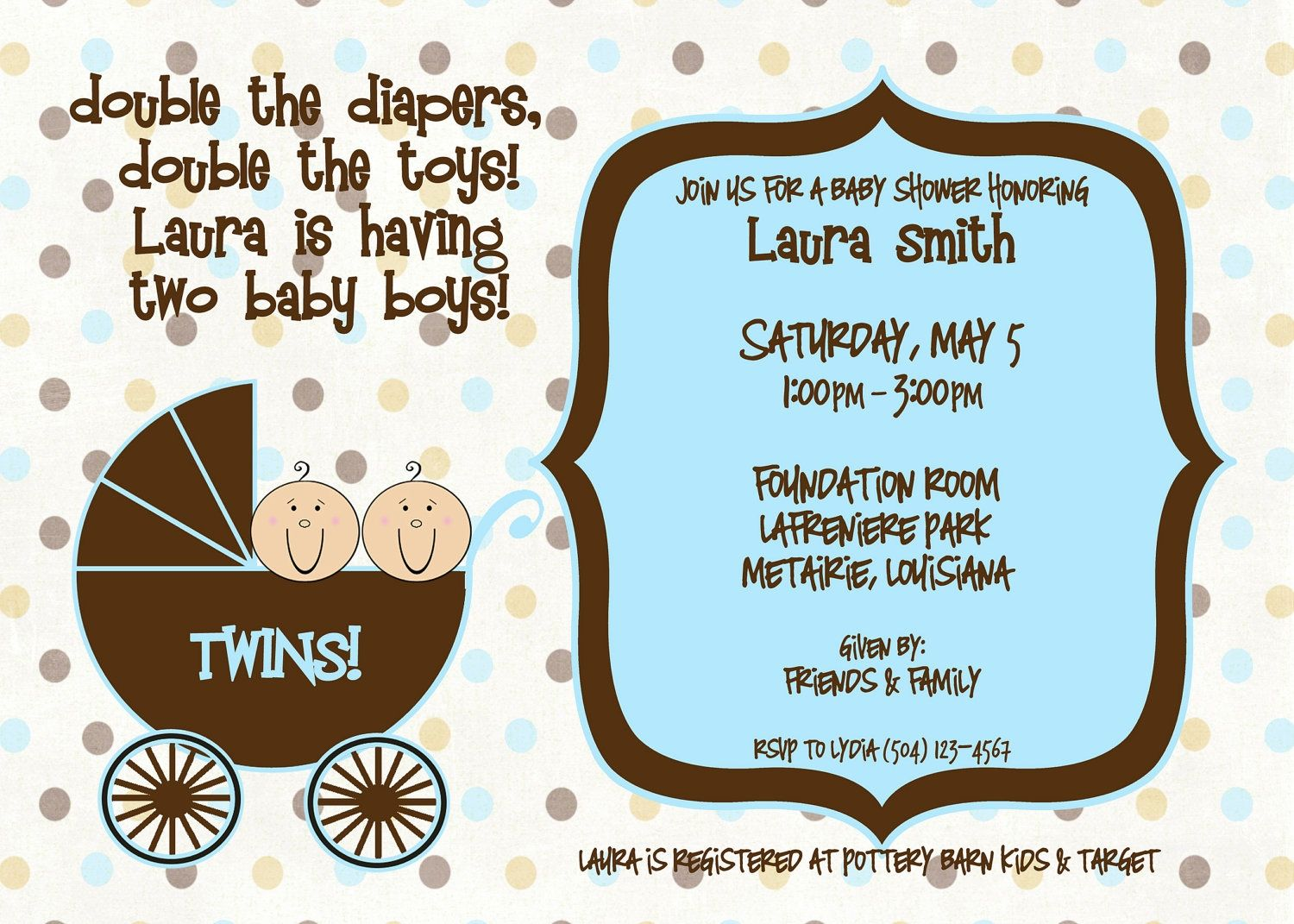 Twin Boy Baby Shower Invitations | http://atwebry.info | Pinterest ...