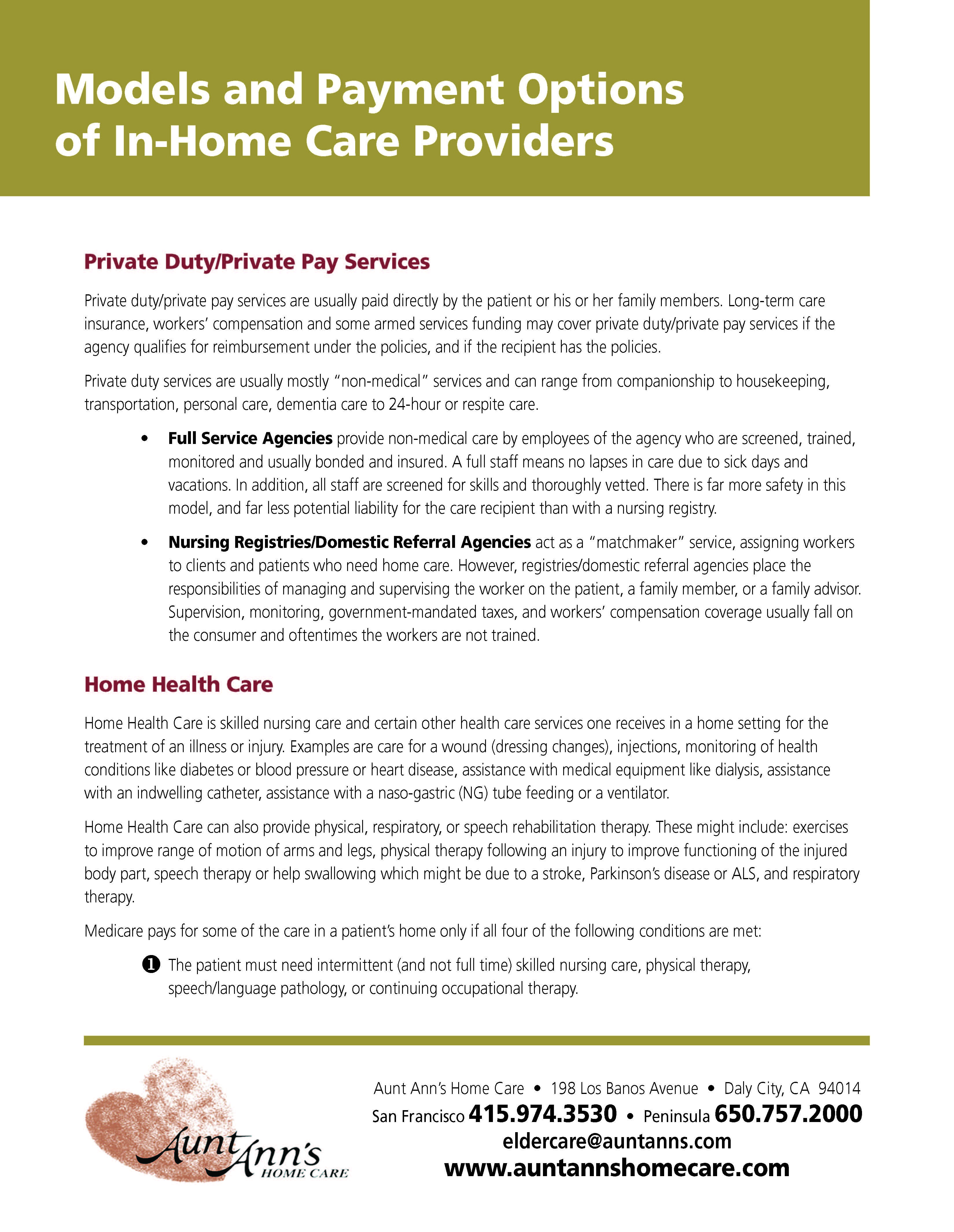 Models And Payment Options Of In Home Care Providers Long Term