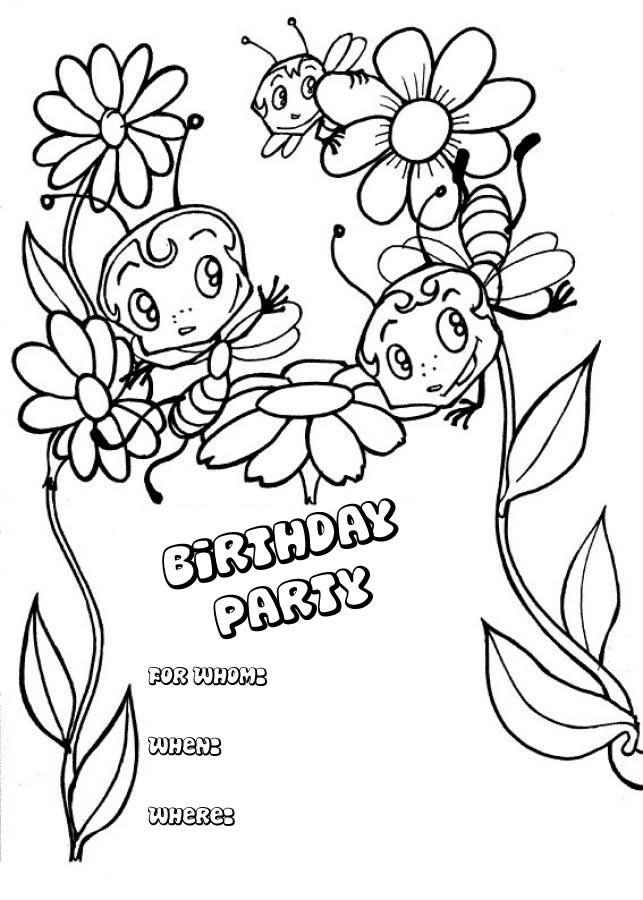 The coloring sheets filled by your children can also make – Coloring Pages of Happy Birthday Cards