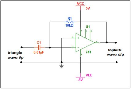 circuit diagram of lm741 opamp ic based triangle wave to square wave