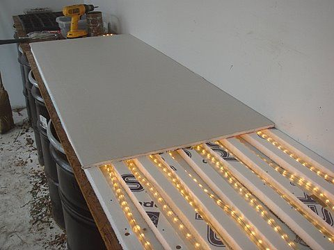 Homemade Heat Mat For Seed Starting I Did This Last Winter And It Works Great Uses Flexible Rope Lights For War Garden Ideas Diy Cheap Seed Starting Heat Mat