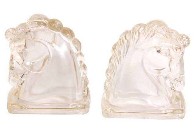 Federal Equestrian Horse Head Bookends 1940's 159 pair, only have one, rats