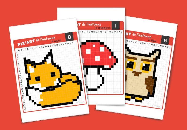 Pixel Art De Lautomne Fiches à Imprimer Gratuitement