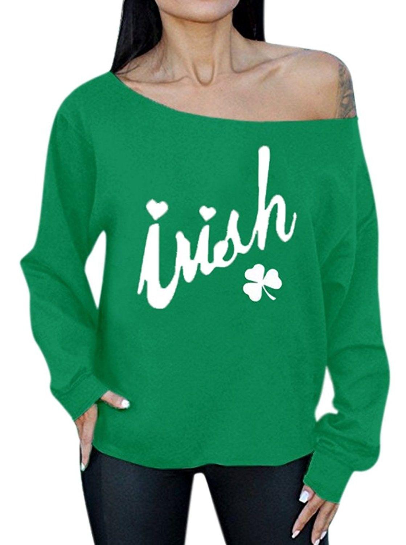 55c8e4905 Women's ST.Patrick's Day Green Tops Graphic Off Shoulder Sweatshirt - Irish  - C31805SQZ9C,Women's Clothing, Hoodies & Sweatshirts #women #clothing  #fashion ...