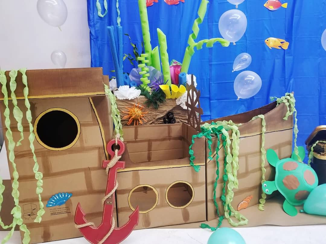 Diy Boat Made Out Of Cardboard Backdrop Prop For Little Mermaid
