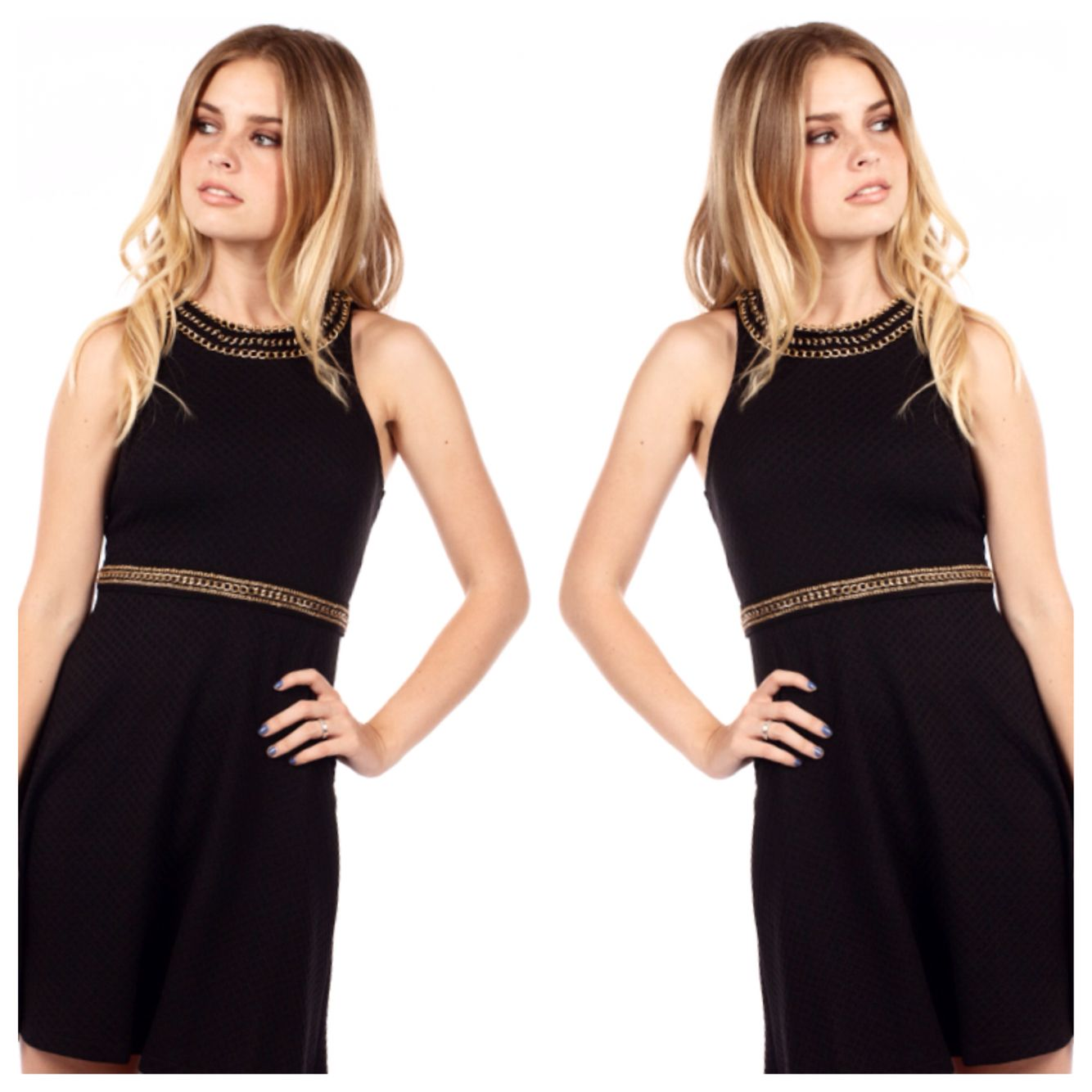 The Chain Chains. Our Gold Chains Skater Dress is light and comfy yet classy and chic. ❌⭕️❌⭕️ What are you wearing? #beautyconvict #dress #dresses #chic #edgy #classy #cute #vday