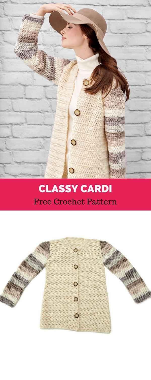 Classy Cardi [ FREE CROCHET PATTERN | Chaquetas y abrigos ...