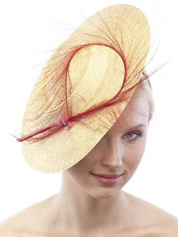Fascinator 038 Headband Natural Milian Straw Mini Boater Hat Red French