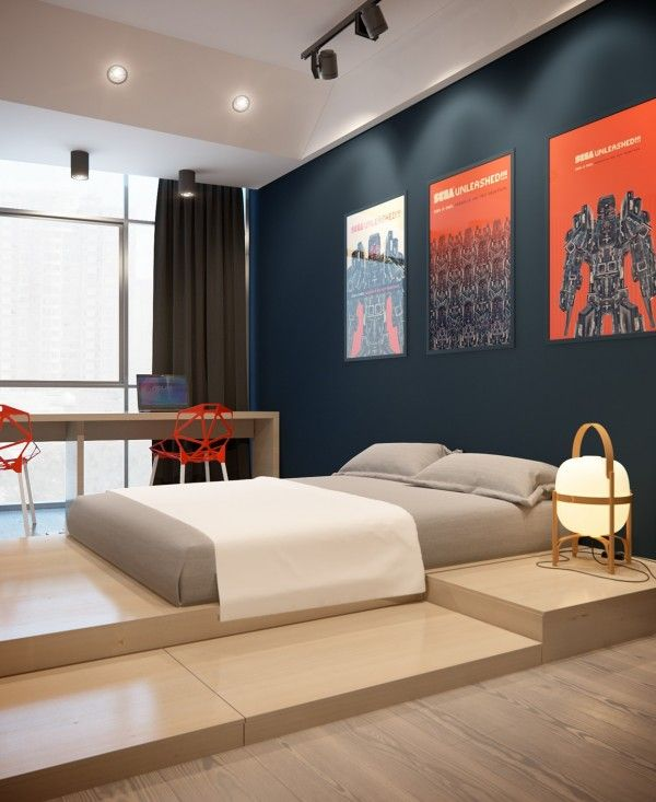Apartments:Stylish Apartment: Classic Apartment Design Inspiration Boys  Bedroom Idea Cool Gray Low Platform