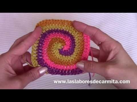 Crochet tutorial cuadrado en espiral paso a paso - YouTube | GRANNYS ...