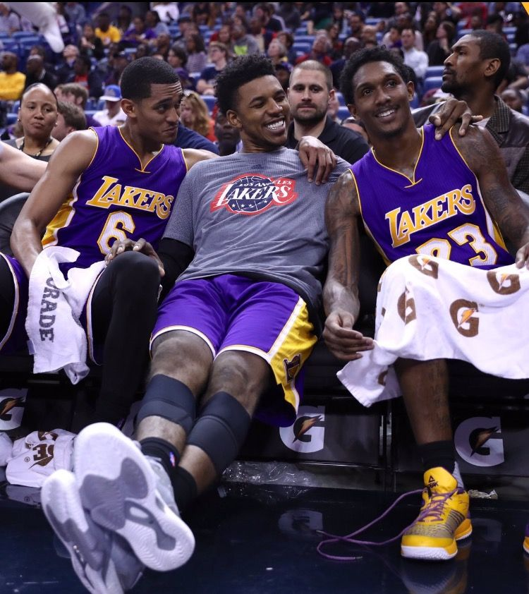 Jordan Clarkson Nick Young And Lou Williams Lou Williams Lakers Los Angeles Lakers