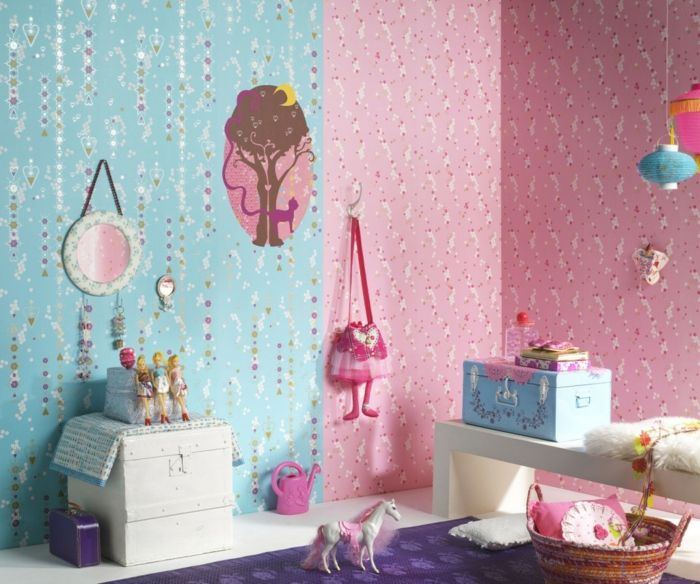 kinderzimmerwände gestalten farbige tapeten lila teppich - jugendzimmer tapeten home design ideas