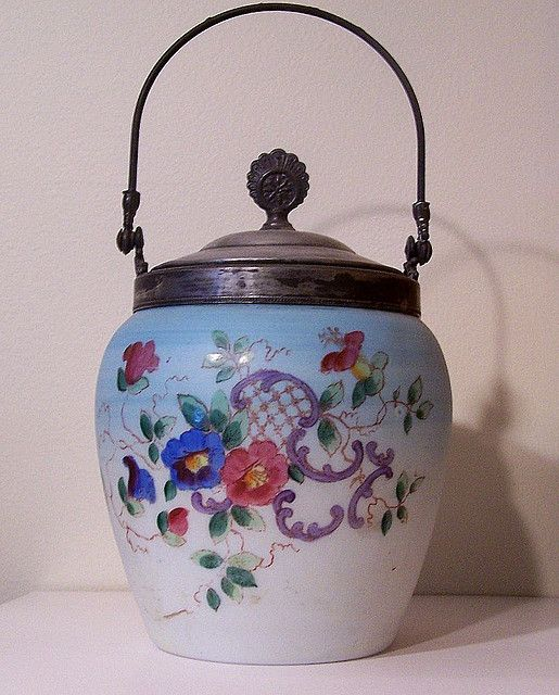 painted glass biscuit jar