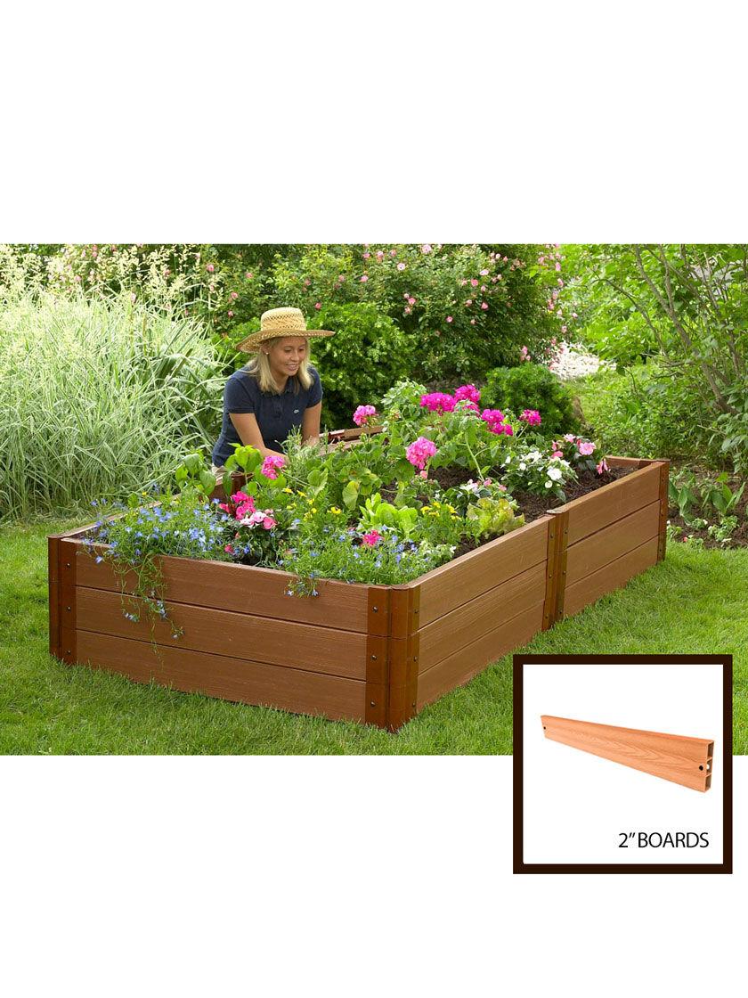Sienna Composite Raised Garden Bed 4 X8 X16 5 With 2 Boards Gardener S Supply Raised Garden Beds Garden Beds Raised Garden