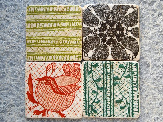 Vintage Lace Stone Coasters  set of 4 by ZNRDesign on Etsy, $24.00