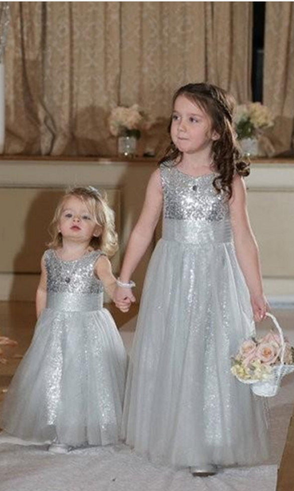 2159b4900f7c1 Floor Length Flower Girl Dresses Children Birthday Dress Gray Sequin ...