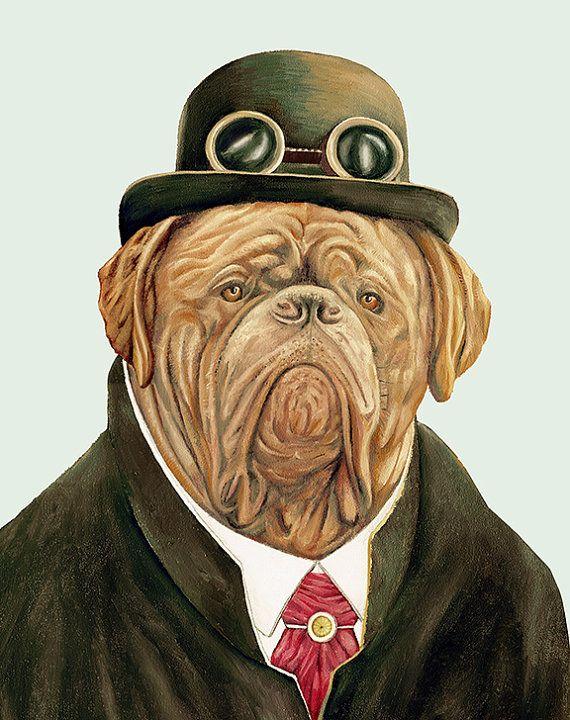 Dogue De Bordeaux Steampunk Dog 5 X 7 Archival Art By Animalcrew 12 00 Retratos De Perros Dogo De Burdeos Animales Con Ropa