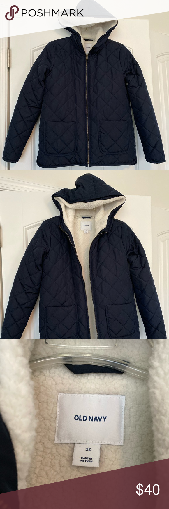 Quilted Navy Blue Sherpa Lined Puffer Jacket Xs Brand New Without Tags Size Xs In Old Navy Lovely Navy Blue Color Pit Sherpa Lined Jackets Puffer Jackets [ 1740 x 580 Pixel ]