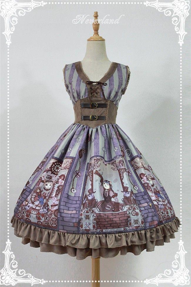 Neverland Lolita -Steampunk Cat- Lolita V-neck Corset JSK