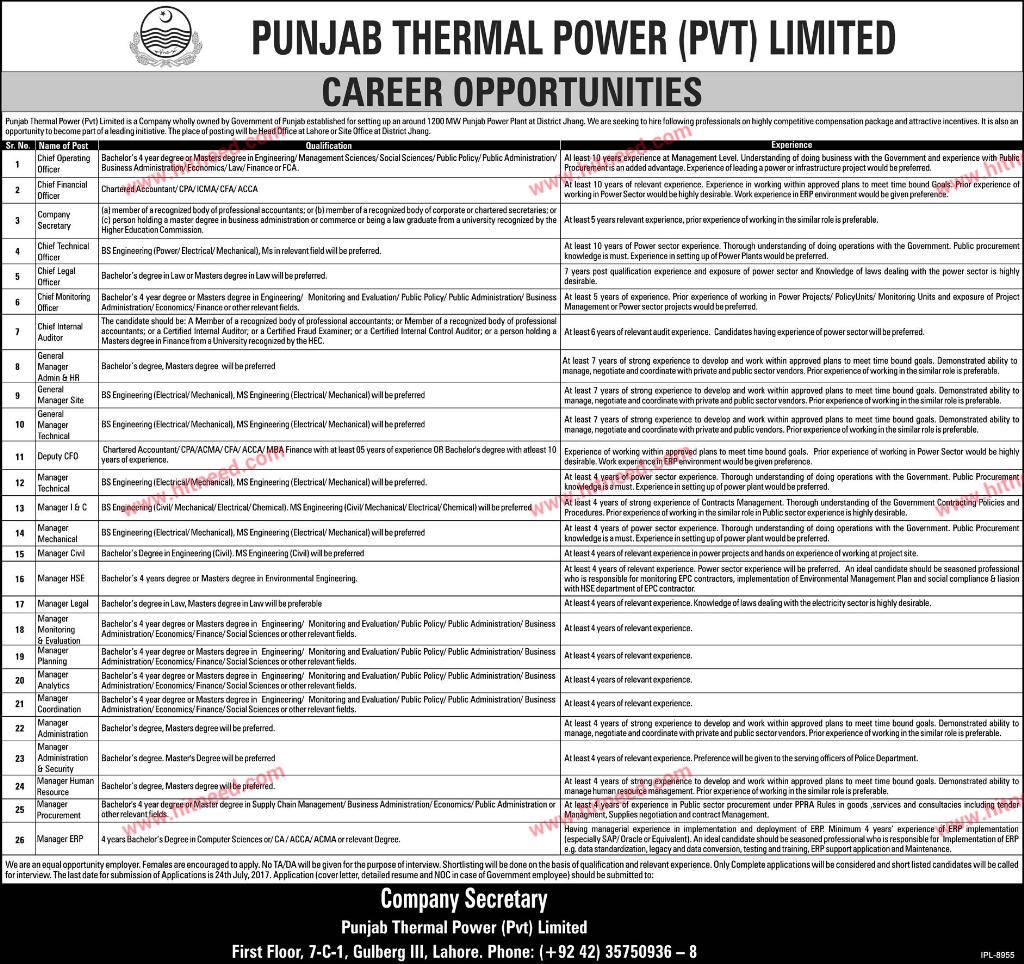 Punjab Thermal Power Coo Cfo Cia Cto Clo  Other Managerial