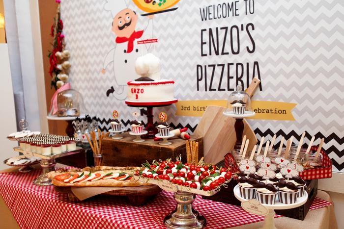Festa Infantil Pizza Birthday Partiesbirthday Ideaspizza Partythemed Partieschef Partyfood
