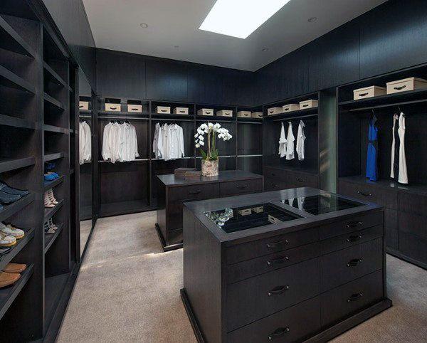 Black Wood Cabinet Walk In Closet Dressing Room For Men