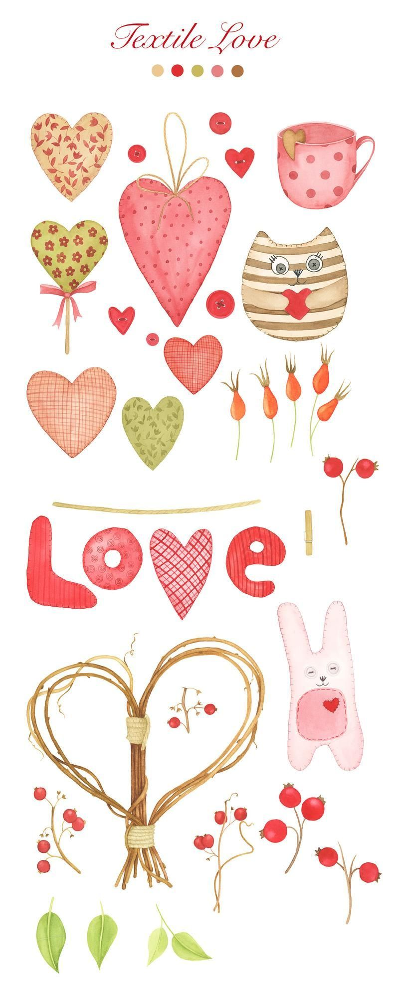 Valentine S Day Clip Art Watercolor Heart Wreath Clipart Floral Wreath Clip Art Country Style Wreath And Wreath Illustration Wreath Clip Art Valentines Art