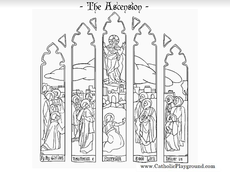 Feast of the Ascension Catholic coloring page for kids