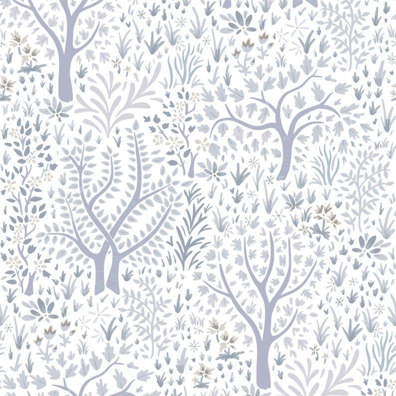 Woodland Trees Removable Wallpaper Nursery Wallpaper Etsy Tree Removable Wallpaper Temporary Wallpaper Removable Wallpaper Nursery