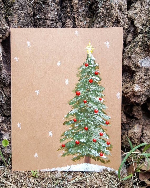 Hand painted Christmas Tree cards, set of 5 Christ