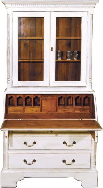 Weiss Vintage Stil Padrino Antik Schrank Sekretär Casa Holzfarben v8wyNnm0O