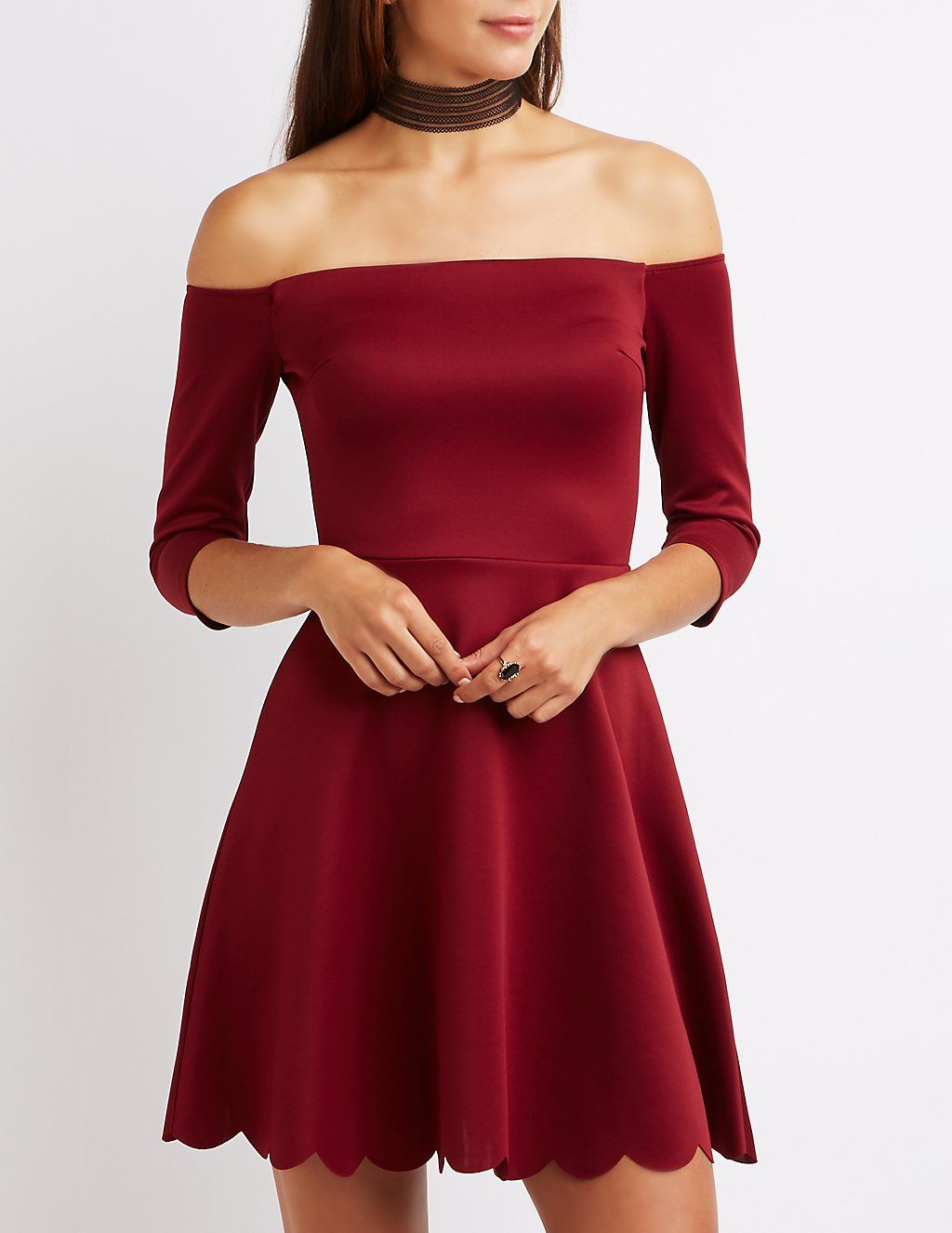 Off-The-Shoulder Scalloped Skater Dress | Charlotte Russe | Dresses ...