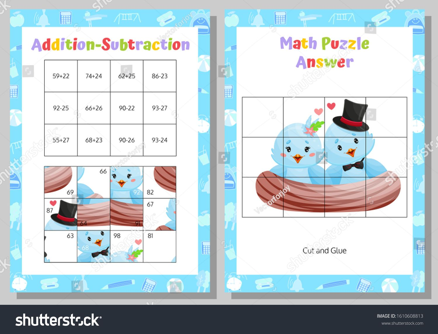 Addition Subtraction Math Puzzle Worksheet Educational Game Mathematical Game Vector Illustration Ad Maths Puzzles Addition And Subtraction Subtraction Math addition puzzle worksheets