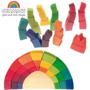 Grimm S Curved Building Set In Rainbow Colors 27 Pieces Rounded Freestanding Arches Curve Building Rainbow Colors Free Standing