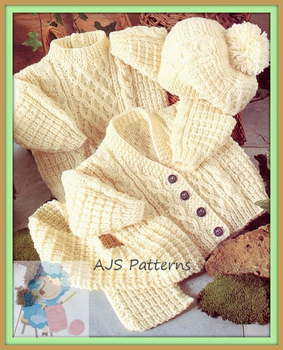 This PDF Knitting Pattern is for a Babys & Toddlers Snug Aran Cardigan and Sweater with a matching Hat & Scarf. To fit chest sizes 16 inch to 22 inch. Knitted in Aran wool. A handy wool and needle conversion chart is also included. Your PDF pattern will be available as an instant download from etsy upon confirmation of your payment. You will require adobe reader to open this format, which is a free download from Adobe. B790 S