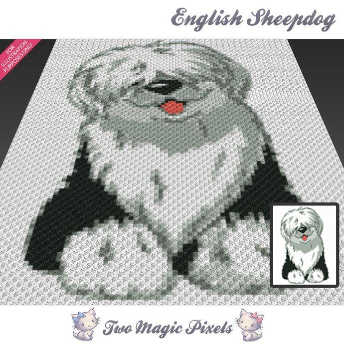 English Sheepdog Crochet Blanket Pattern Knitting Cross Stitch