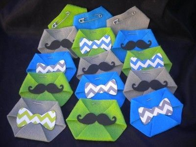 48pc Baby Shower Dirty Diaper Game Little Man Chevron Bow Tie Mustache Theme