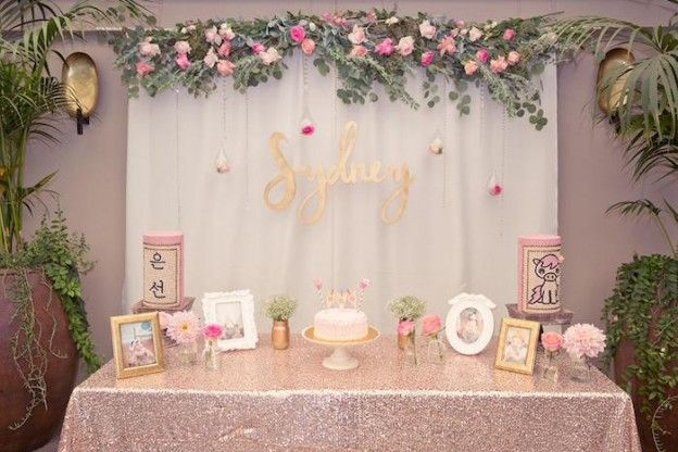 Main Table from a Pink + Gold Bohemian Dohl Birthday Party via Kara's Party Ideas | KarasPartyIdeas.com (26)