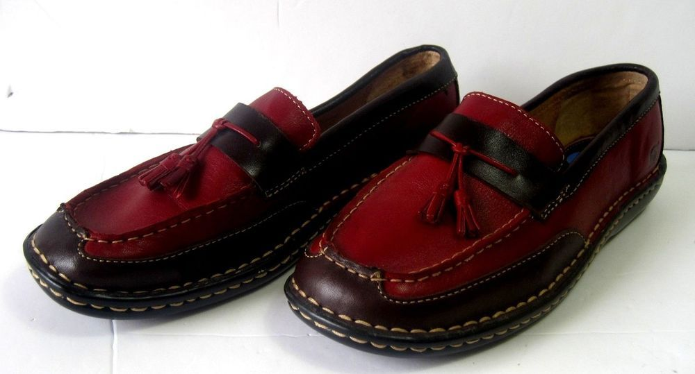 Born Women's Loafers Slip On Shoes Size 7.5 Leather Burgundy with Tassels    #Born #LoafersMoccasins