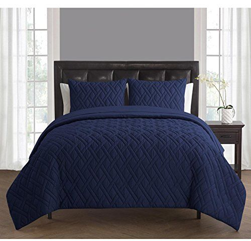 5 Piece Navy Blue Solid Embossed Cross Checkered Pattern Comforter Twin Set Beautiful Highclass Geometric Textured Pattern Comforters Bed Design Comforter Sets