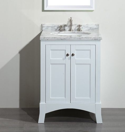 Transitional 24 Inch White Bathroom Vanity With White Marble
